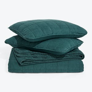 Product Image - Simple Linen Quilt + Shams Peacock