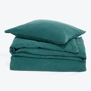 Product Image - Simple Linen Duvet + Shams Peacock