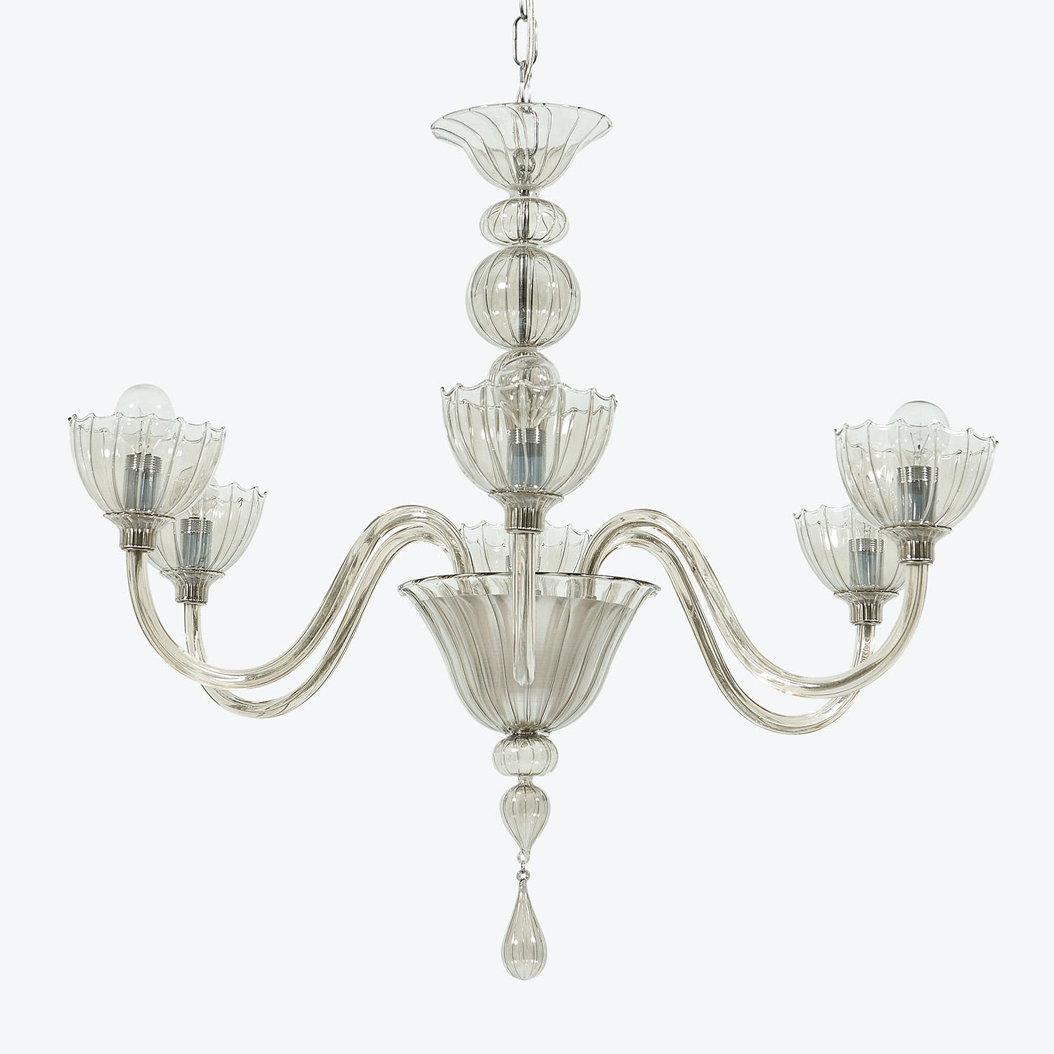 Glass 6-Light Chandelier Tobacco