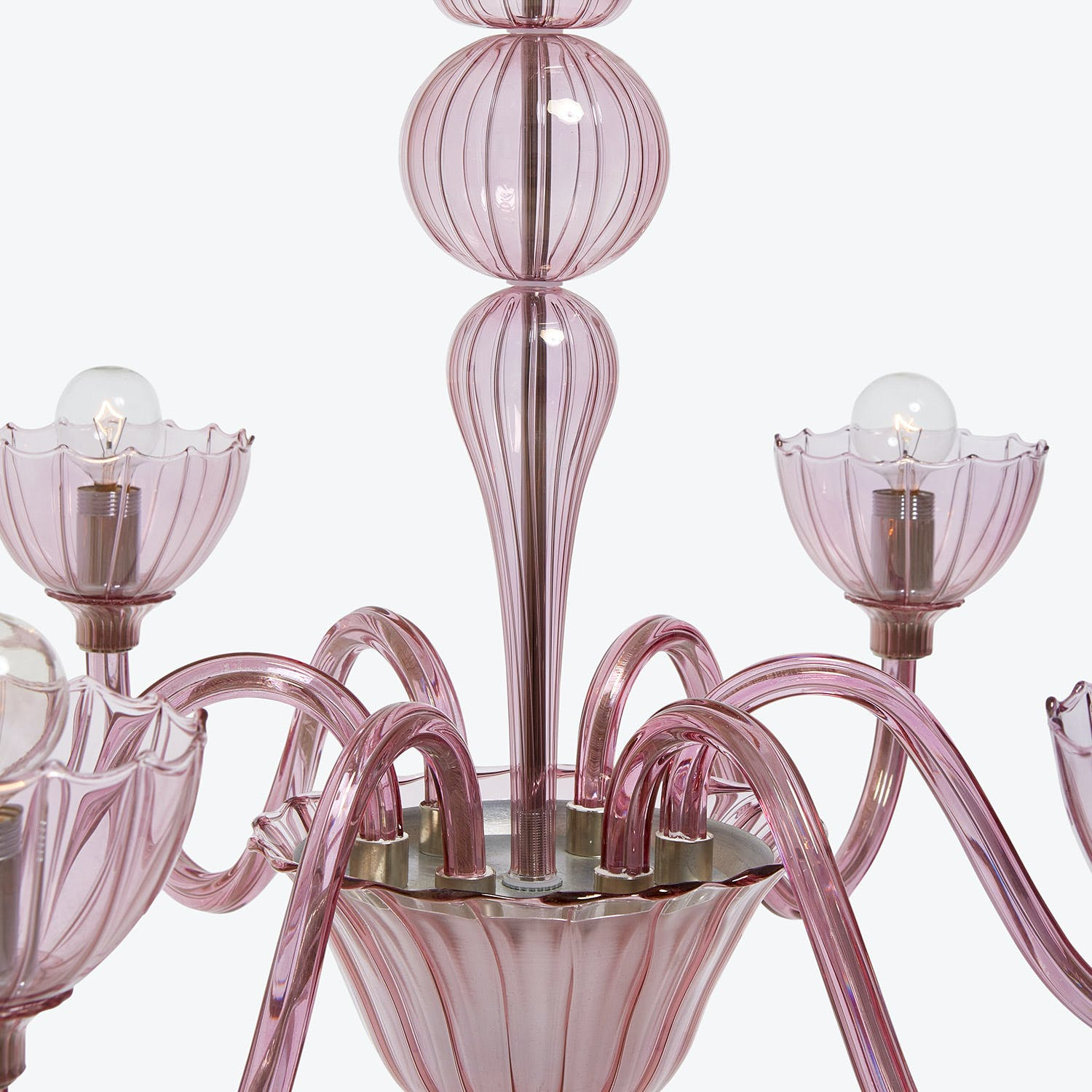 Glass 6-Light Chandelier Pink