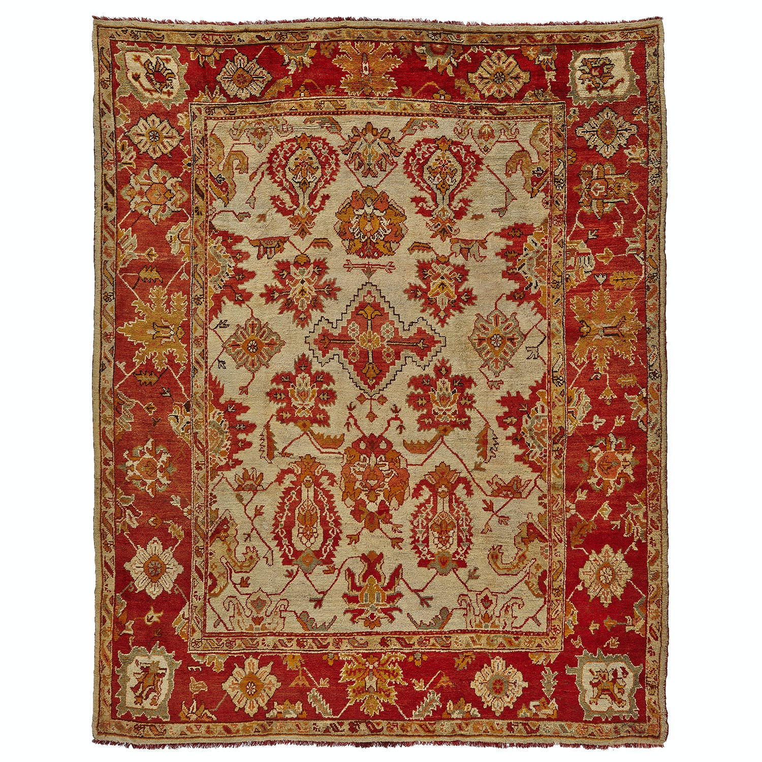 "Antique Oushak Wool Rug - 11'10""x14'5"""