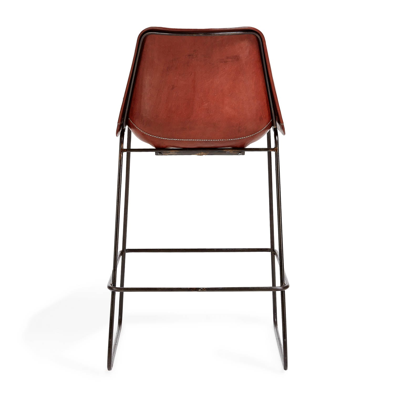 Giron Leather Counter Stool Brown