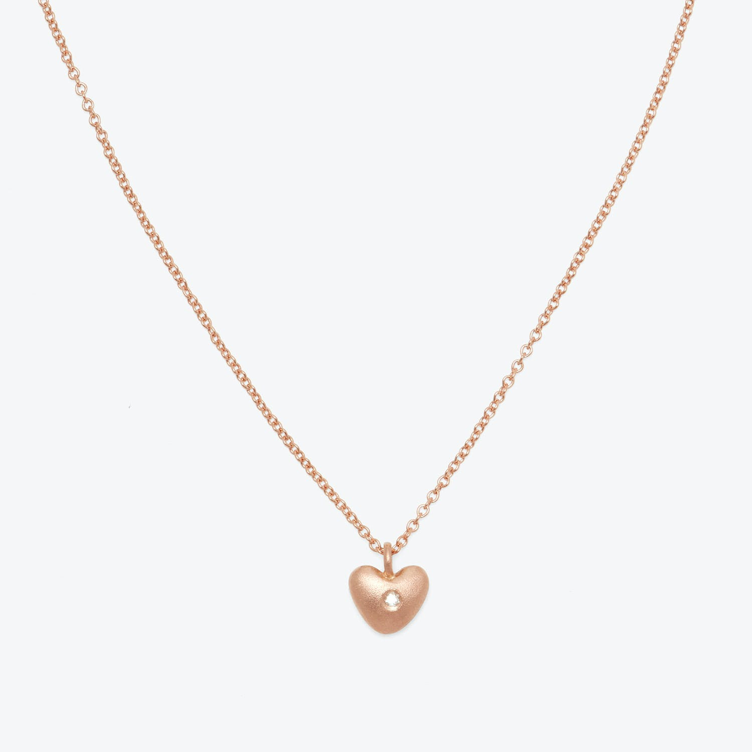Aili Jewelry Brushed Rose Gold Heart Necklace