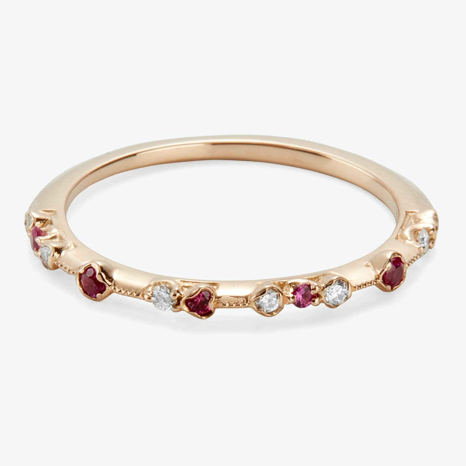 Kataoka Dotted Band Ring Diamonds, Rubies, Rose Gol
