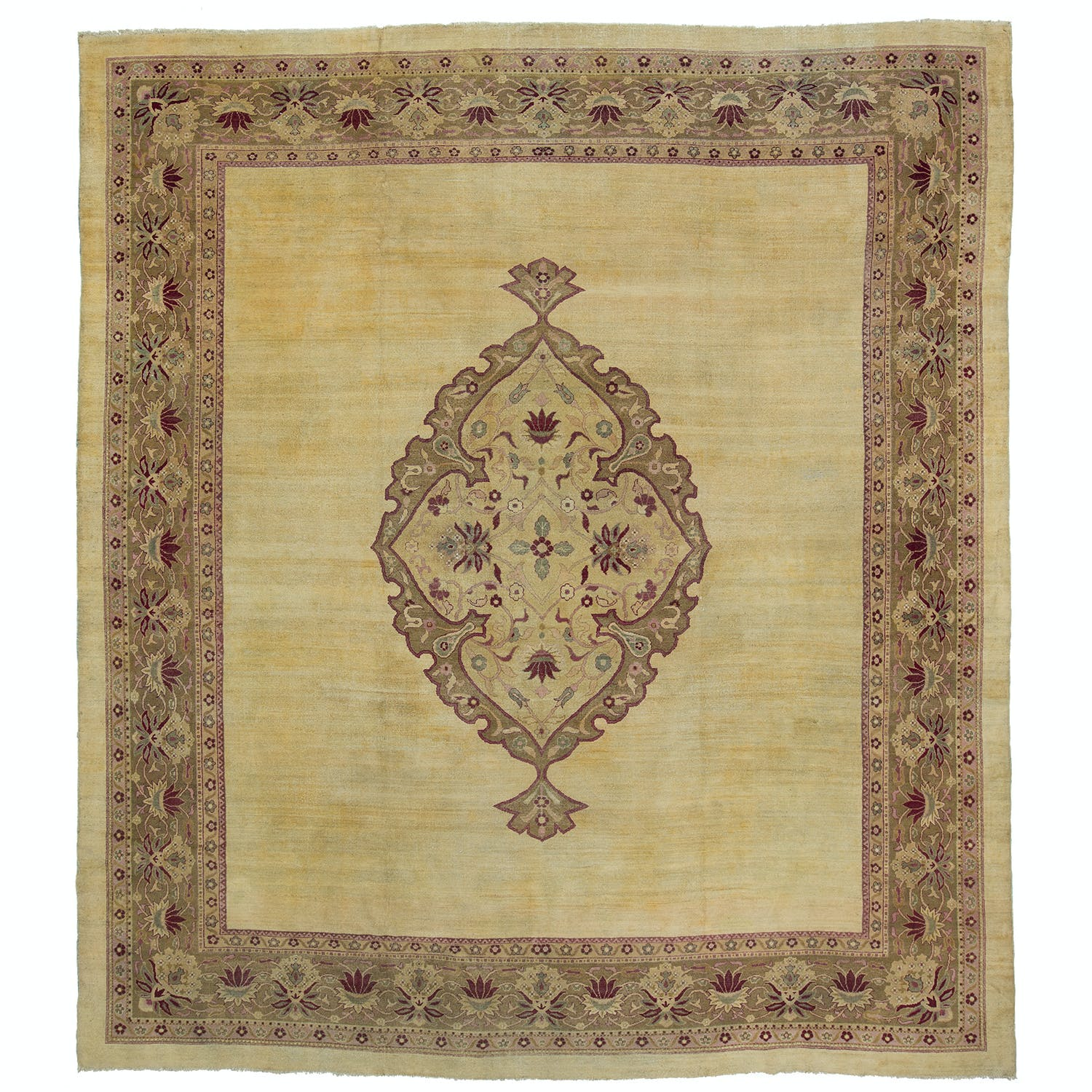 "Antique Sultanabad Wool Rug - 13'8""x25'2"""