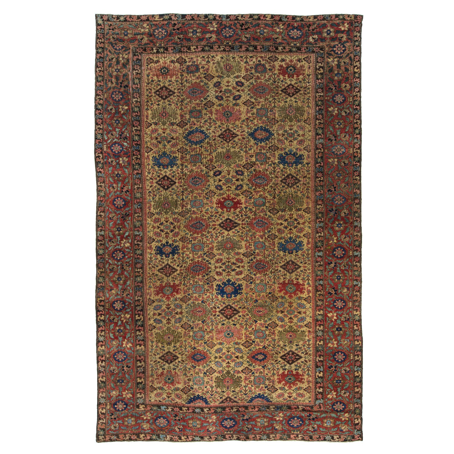 """Antique Sultanabad Wool Rug - 11'x17'9"""""""