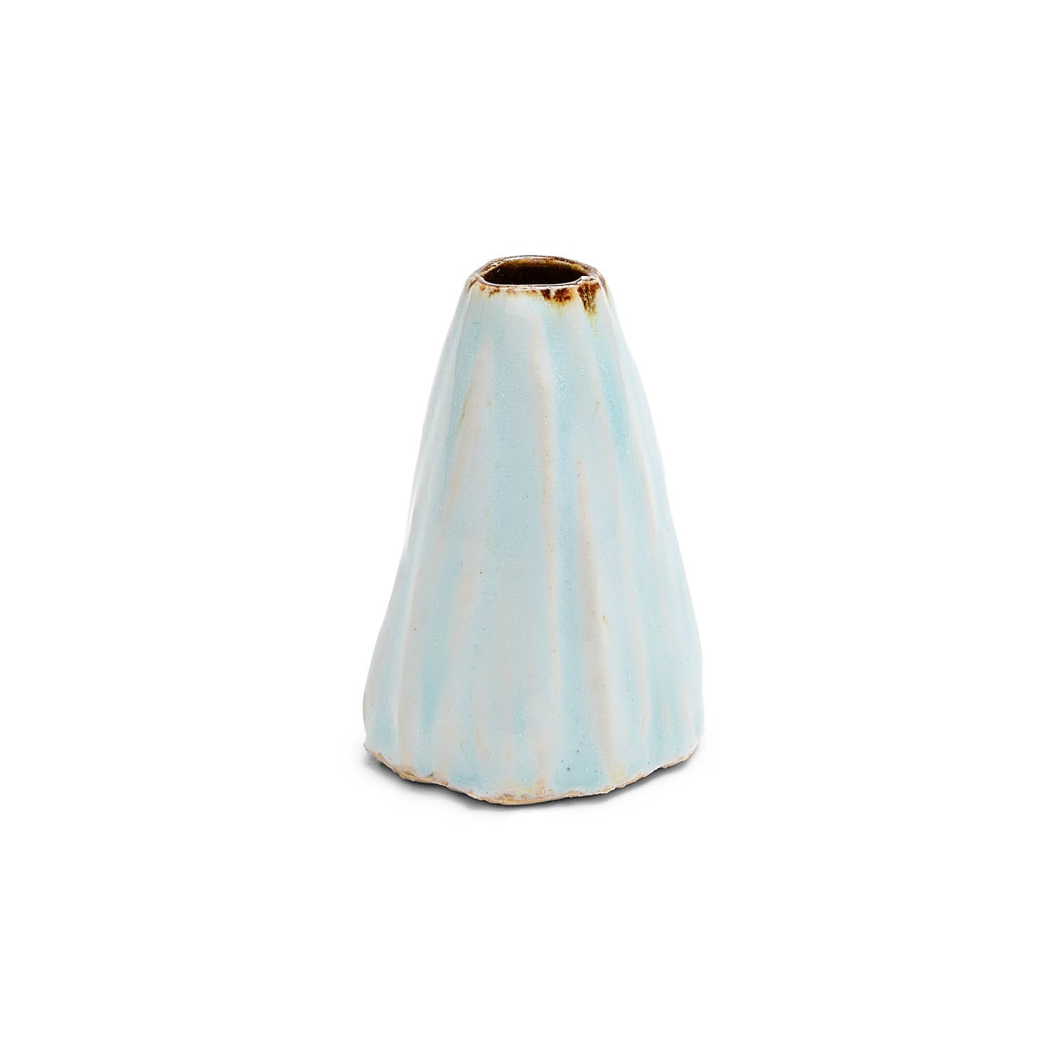 """Ash Cloud White/Green Conical Vase - 2.6"""""""