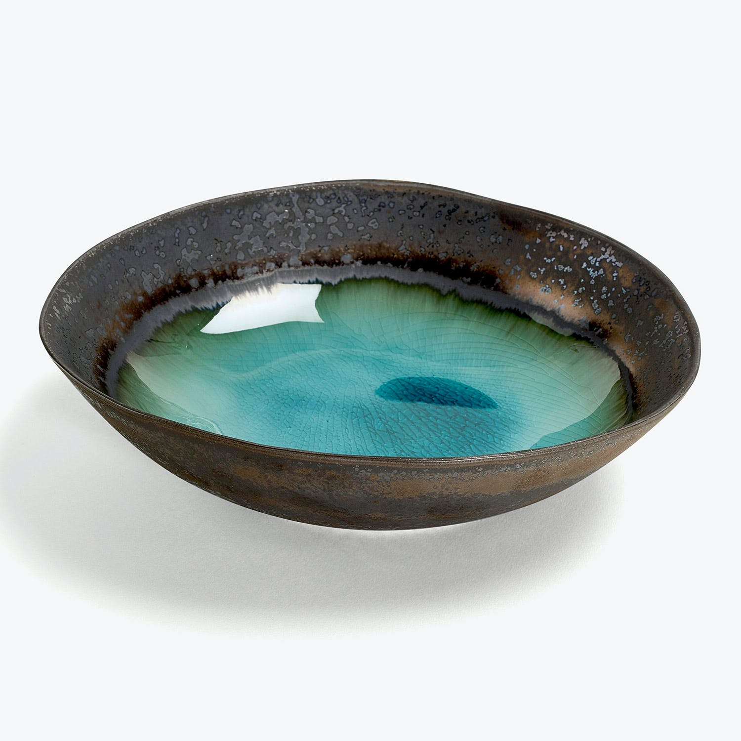 abcDNA Mystic Glacier Shallow Serving Bowl Turquoise