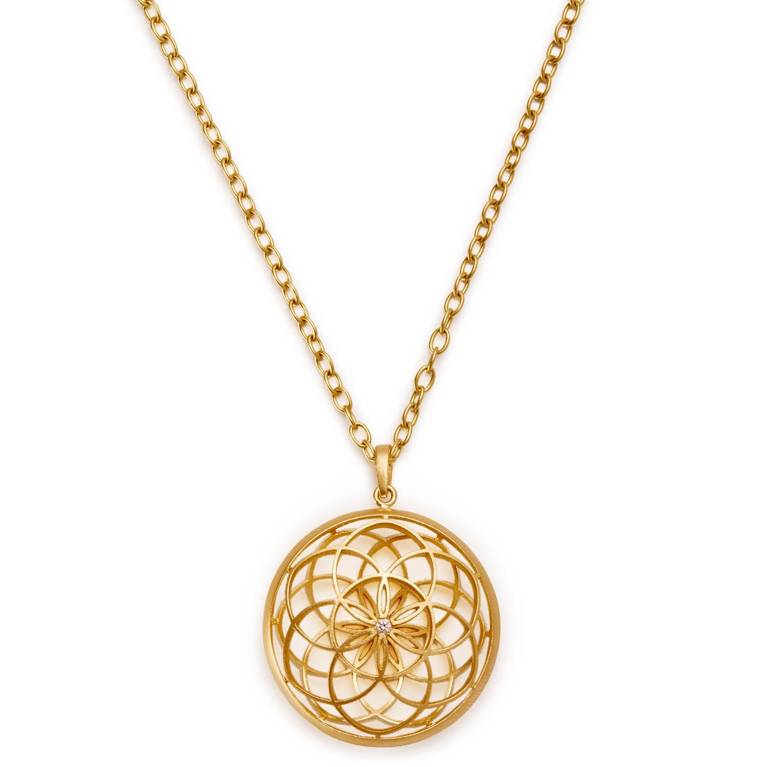 Gold Handwerk Seed of Life Mandala Necklace
