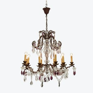Product Image - Vintage Bronze & Crystal Chandelier