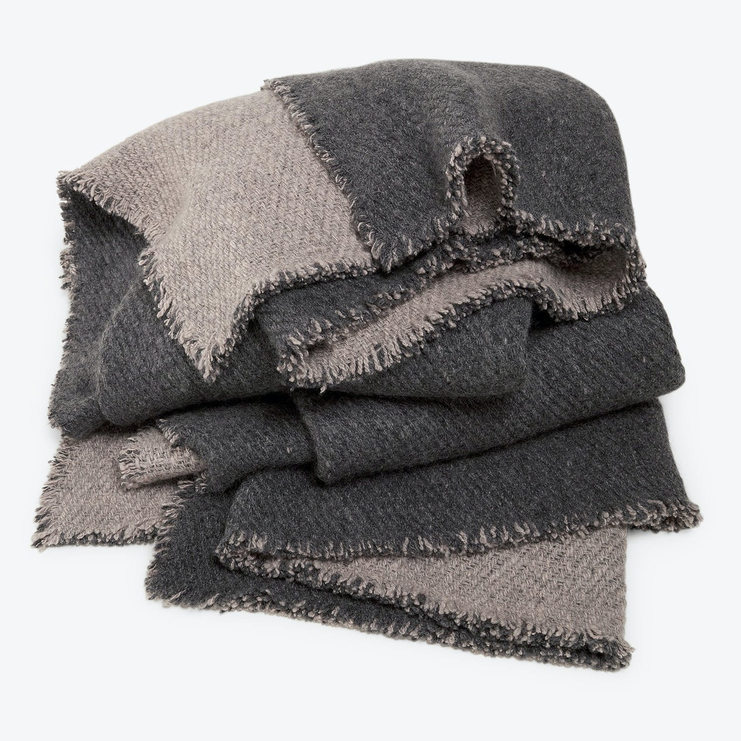 Product Image - Cashmere Throw Charcoal & Ivory