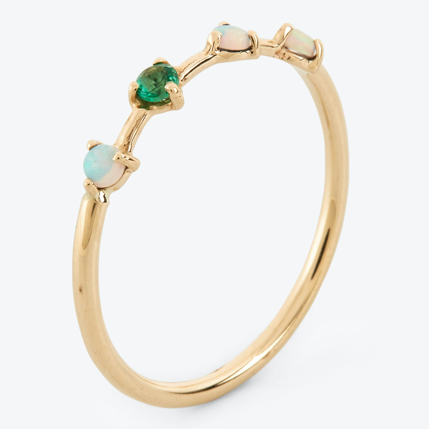Opal & Emerald Four Step Ring Gold
