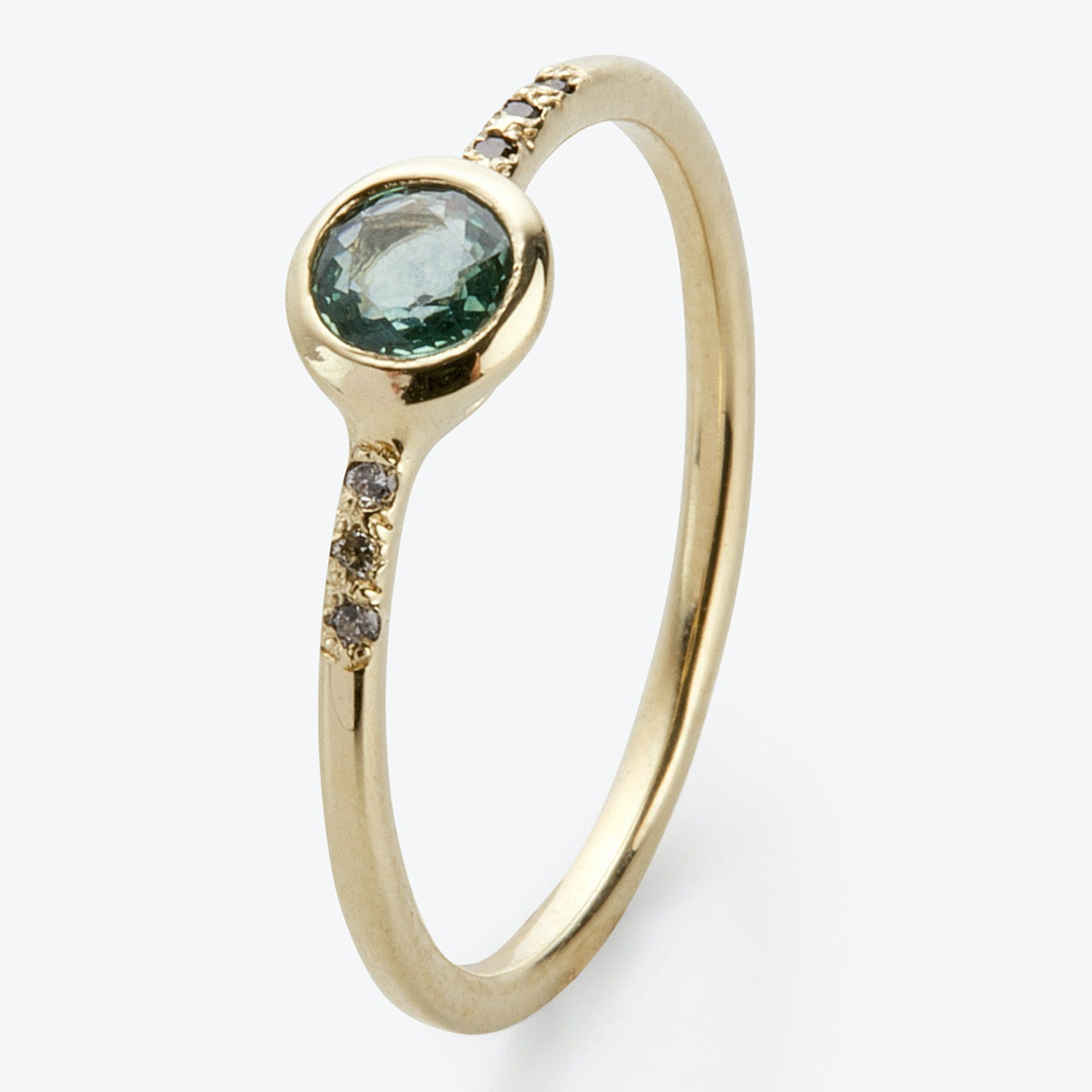Scosha Midday Ring Blue Sapphire, Black Diamond, Gold