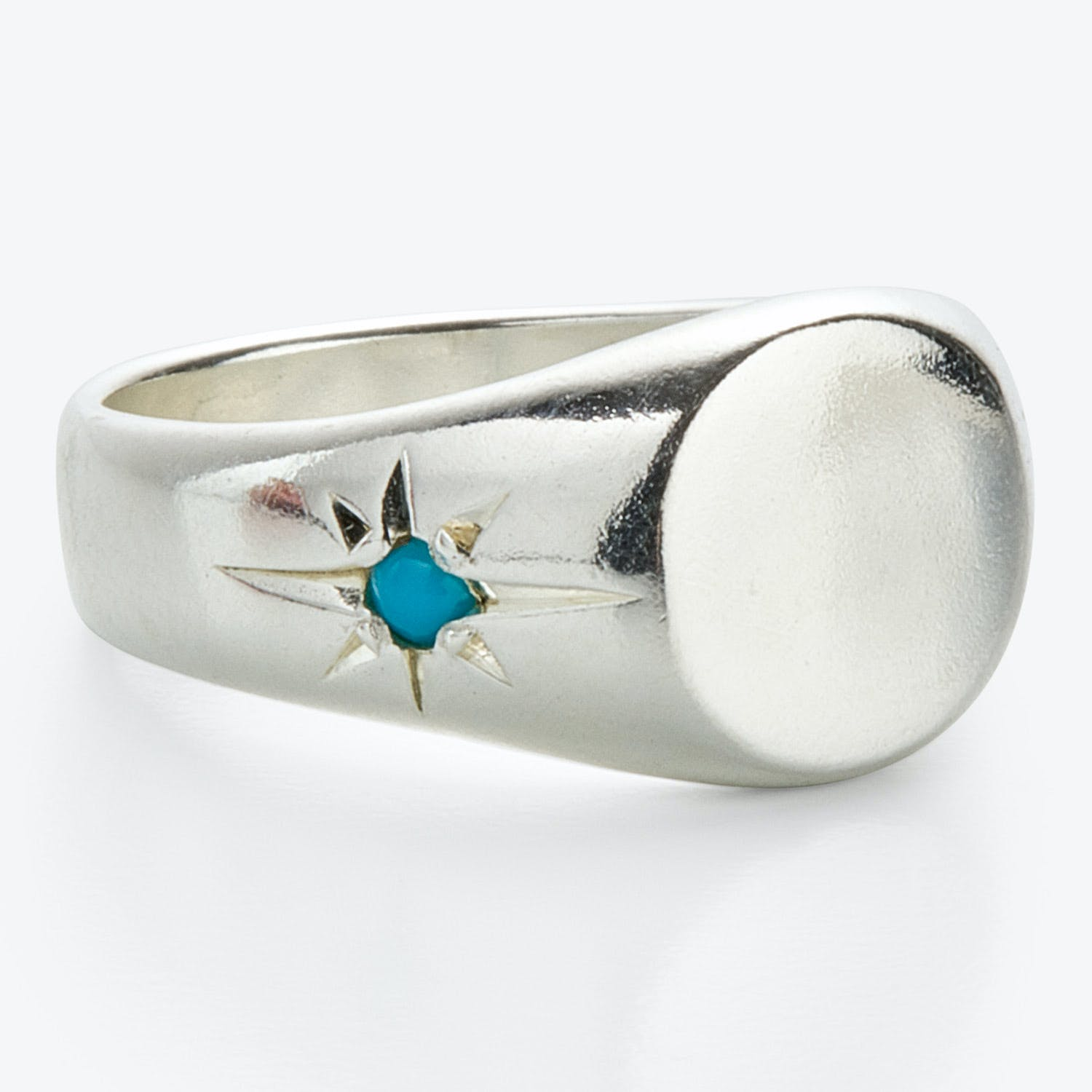 Scosha Pinky Signet Ring Turquoise, Sterling Silver