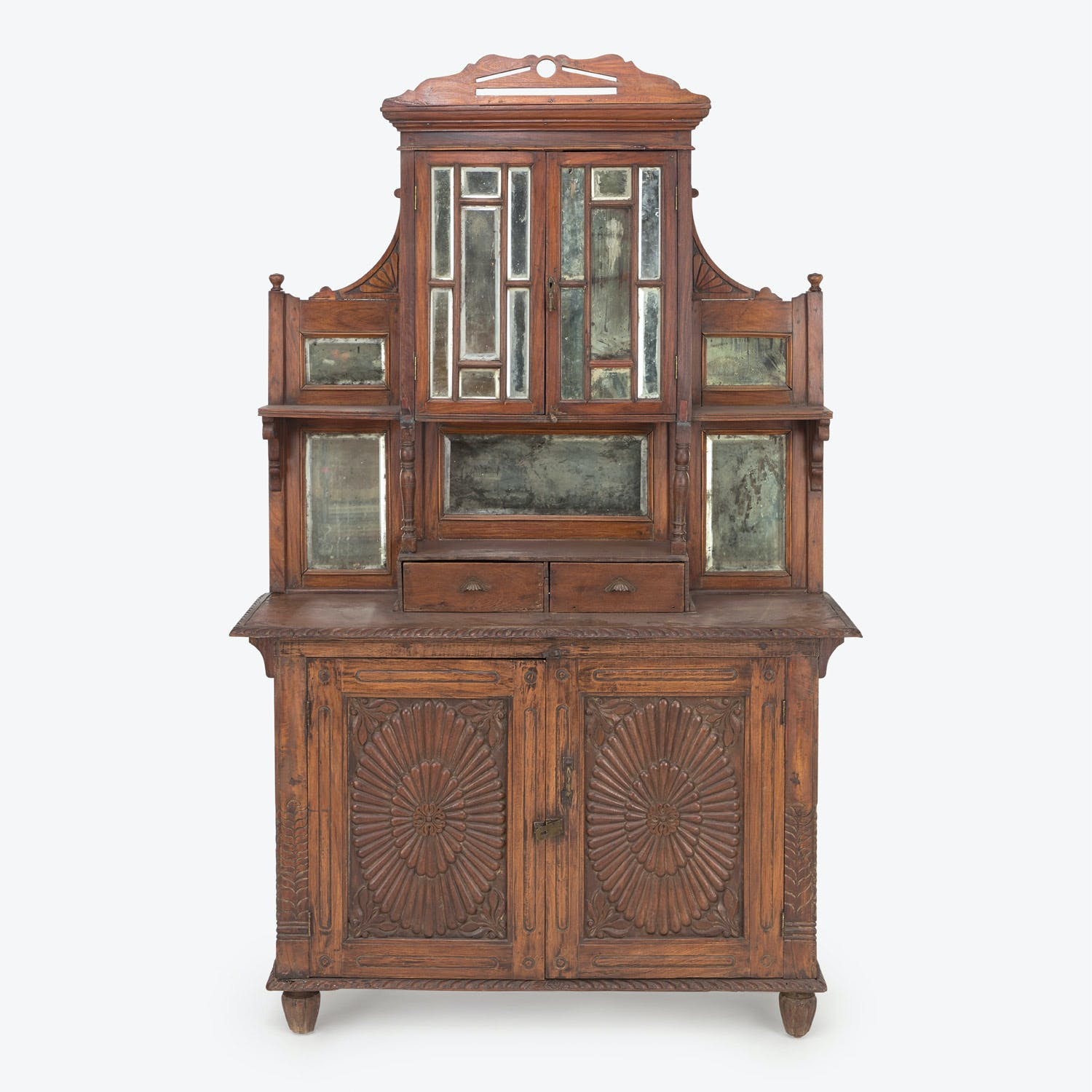 Product Image - Vintage Indian Wood & Mirror Cabinet
