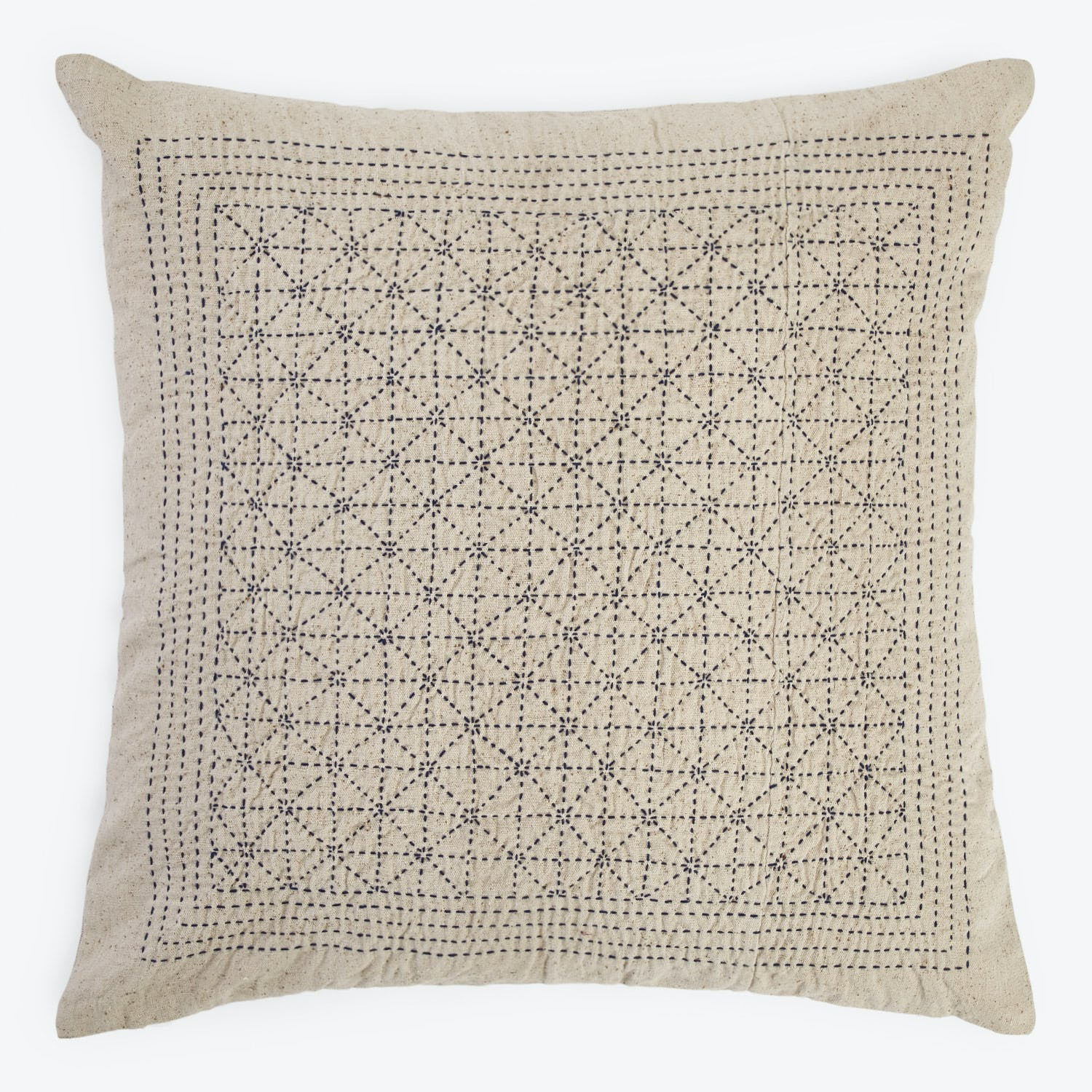 Distant Echo Run Stitch Star Pillow White