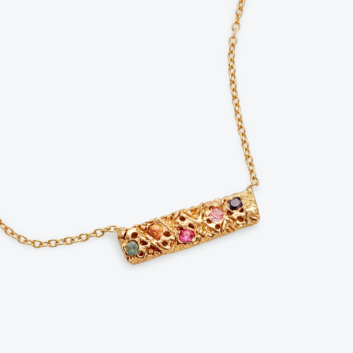 Product Image - Danielle Welmond Multi-Sapphire Gold Bar Necklace
