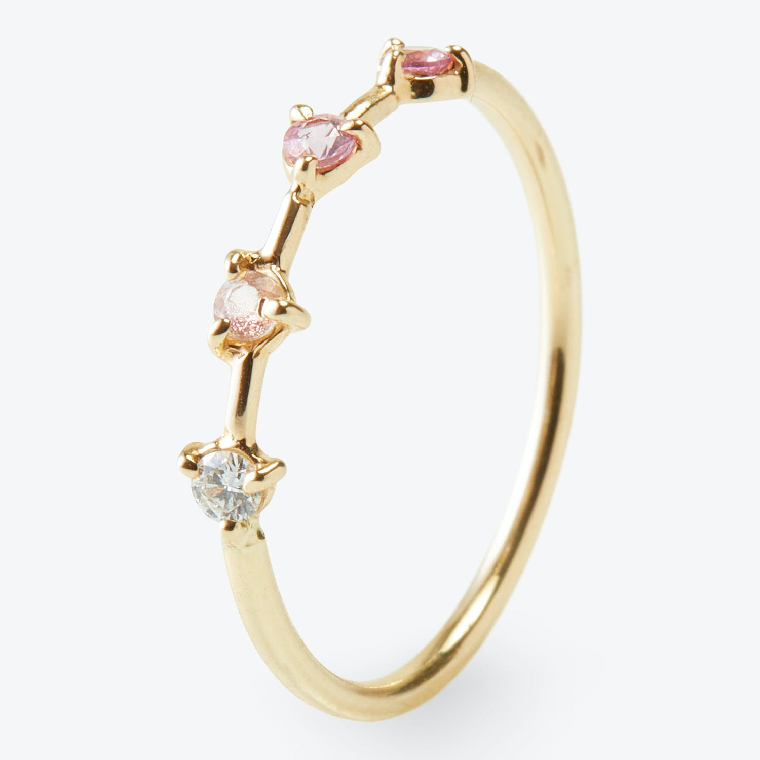 4-Step Ring Yellow Gold & Pink Sapphire