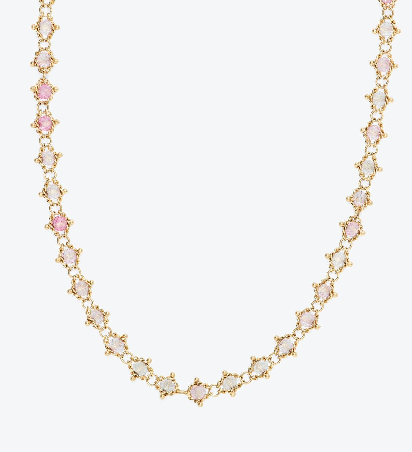 Amali Pink Topaz Textile Necklace
