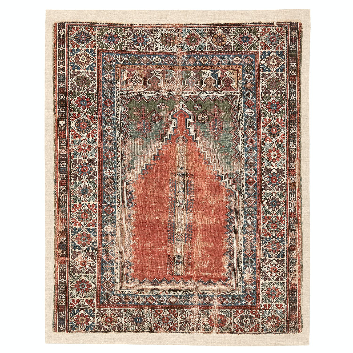 "Antique Turkish Prayer Rug - 4'4""x5'5"""