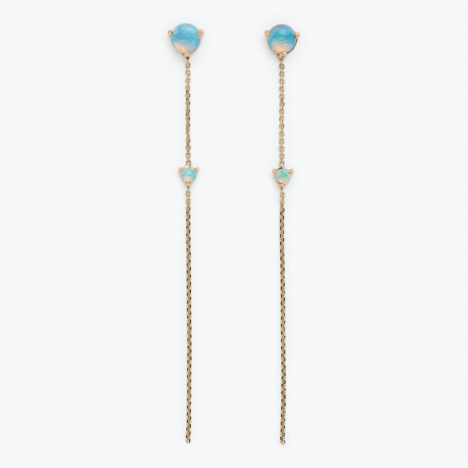 2 Stone Opal Drop Earrings