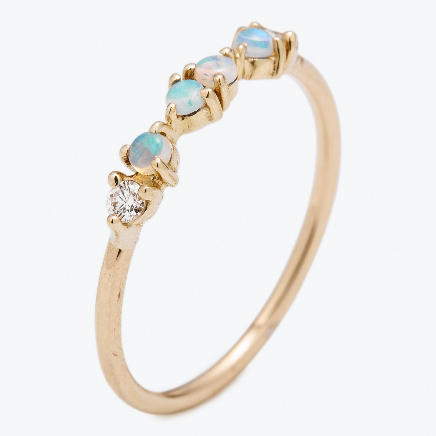 Demipaired Opal & Diamond Ring