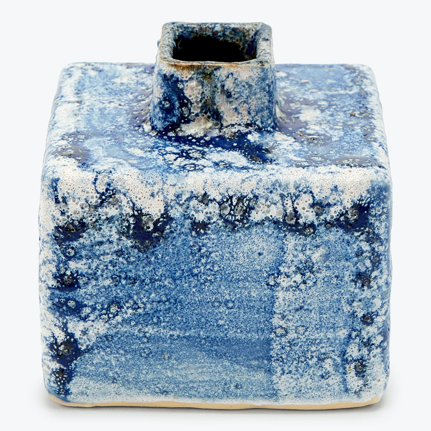 Ash Cloud Small Square Vase Deep Blue
