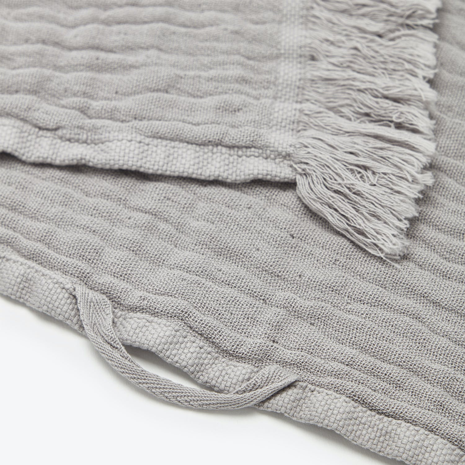 Fringe Bath Towel Gray