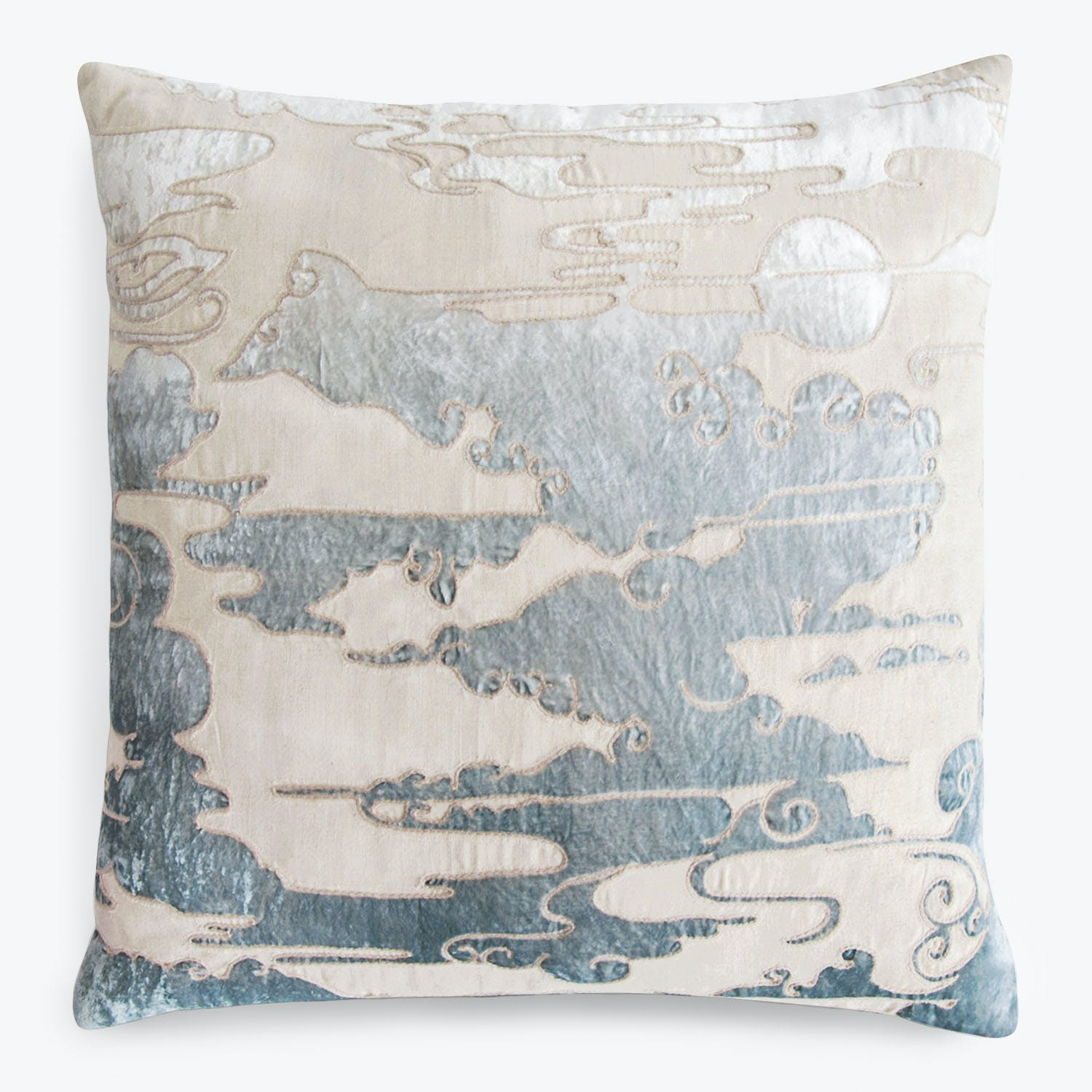 Cloud Appliqued Linen Pillow Seaglass