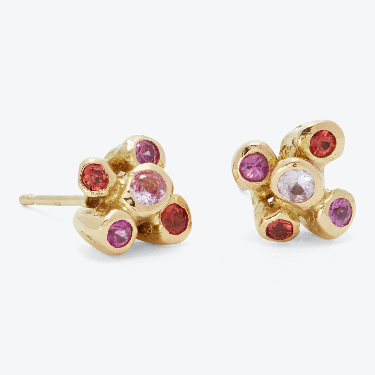Kimberlin Brown Pink Sapphire Large Sea Anemone Stud Earrings