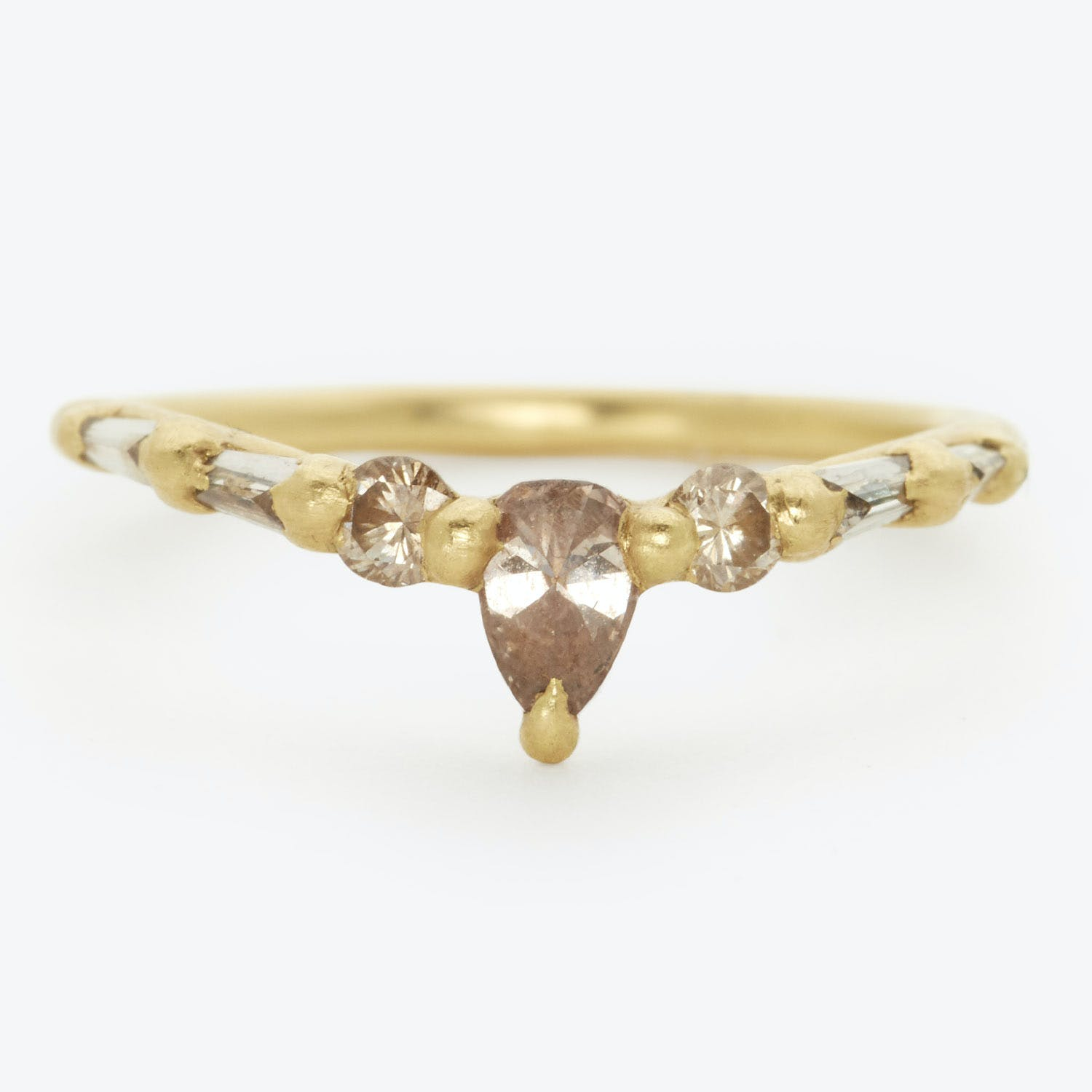 "Polly Wales One-of-a-kind Cognac Diamond ""V"" Halo Ring"