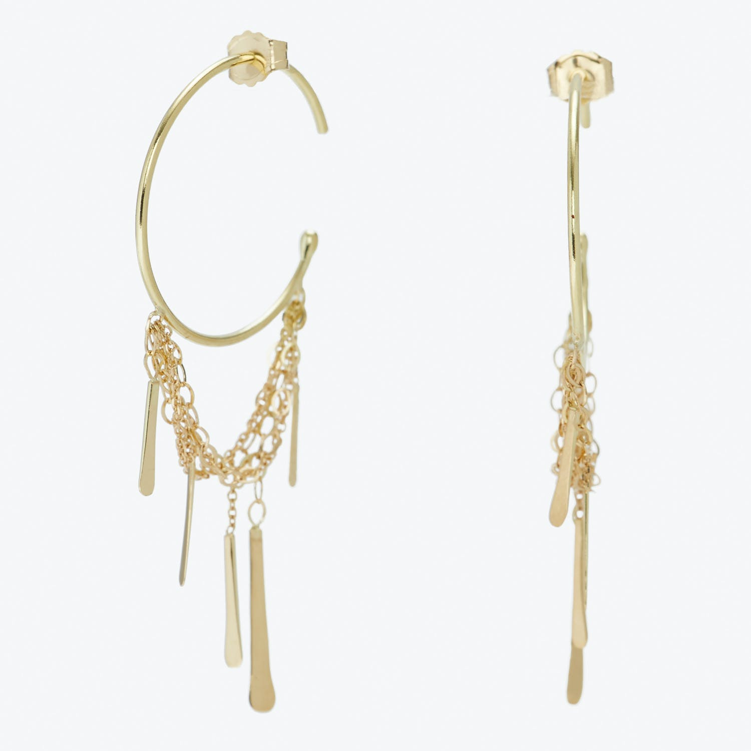 Bar with Layered Chains Hoop Earrings