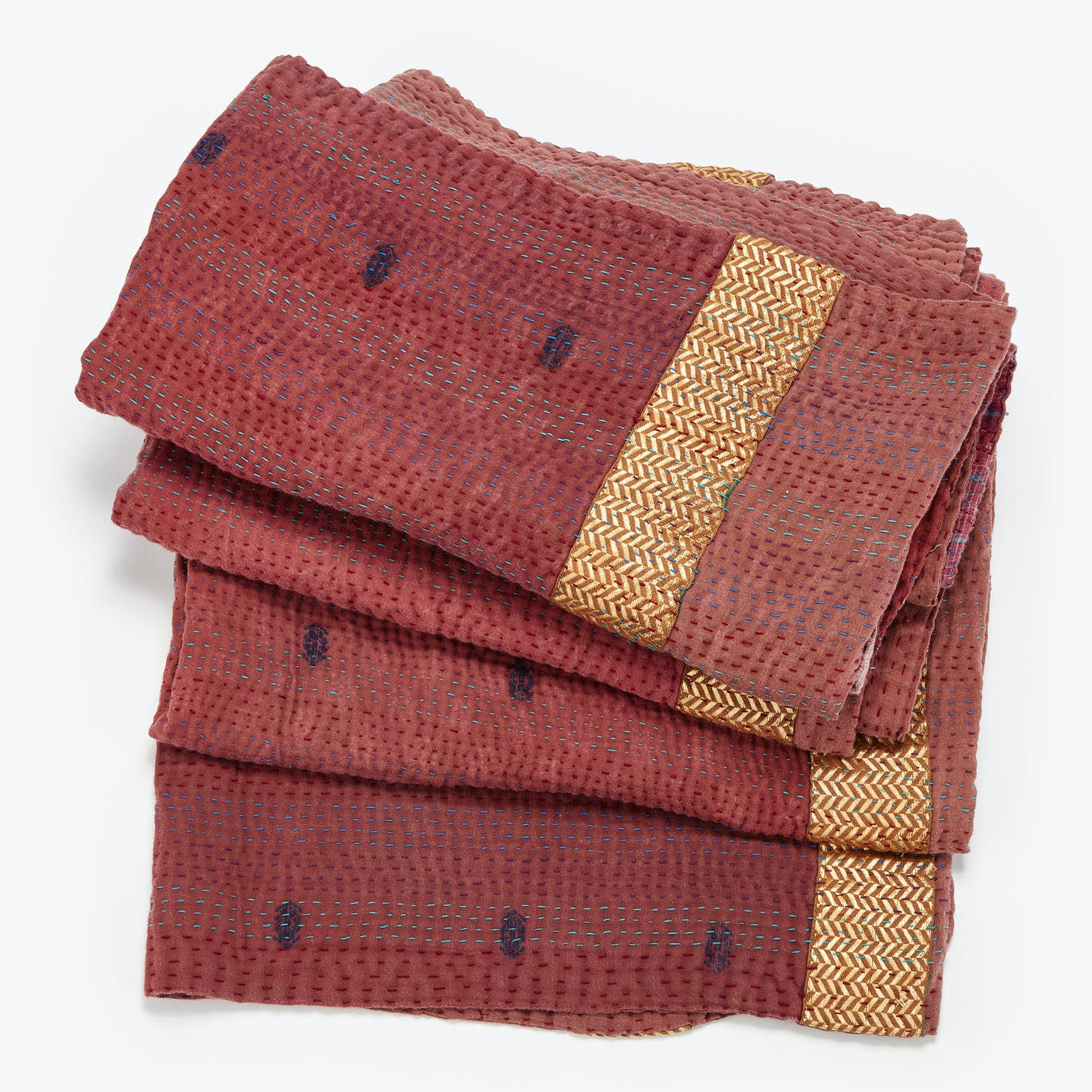 Vintage Kantha Brocade Throw Brown