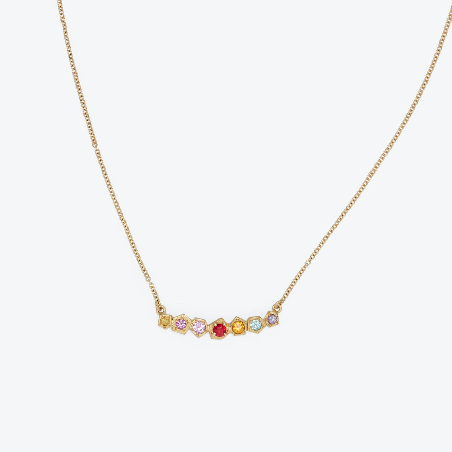 Annie Fensterstock Multicolor Sapphire & Ruby Large Rainbow Rock Necklace
