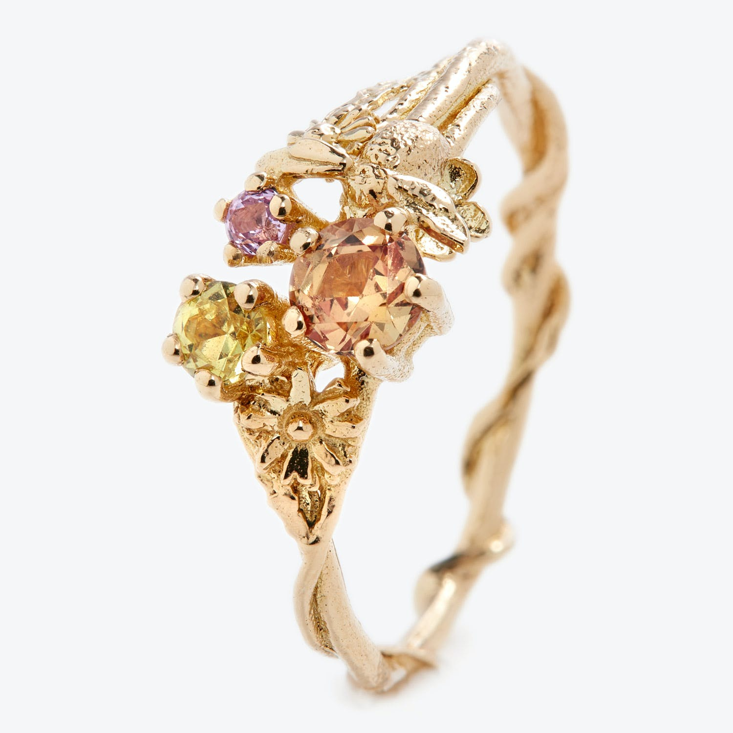 Alex Monroe One-of-a-kind Sapphire Cluster Beekeeper Ring