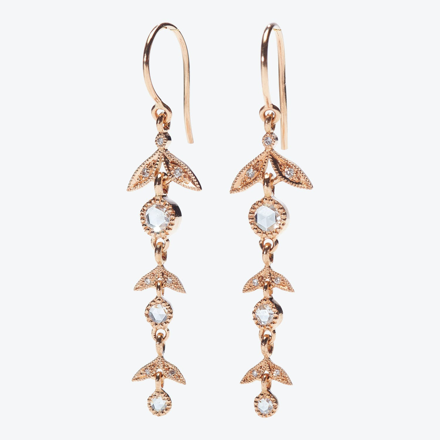 Myrtille Beck Diamond Long Foliage Earrings