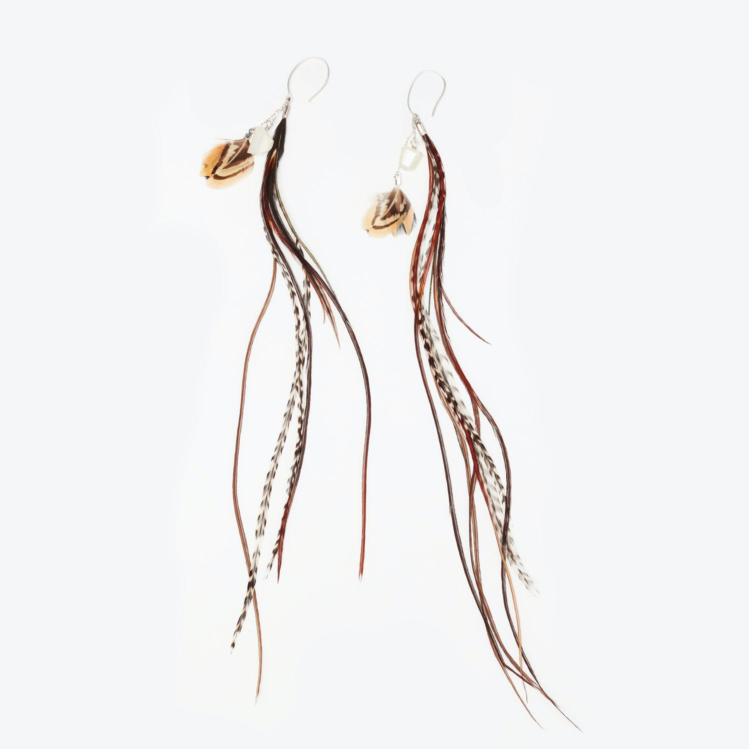 Tailfeather Designs Moonstone & Rooster Feather Drop Earrings