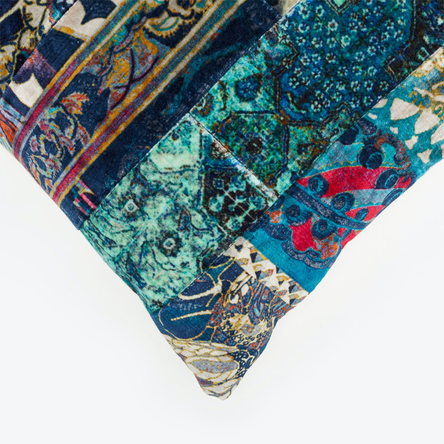Marian Paquette One-of-a-kind Patchwork Pillow Blue / Teal
