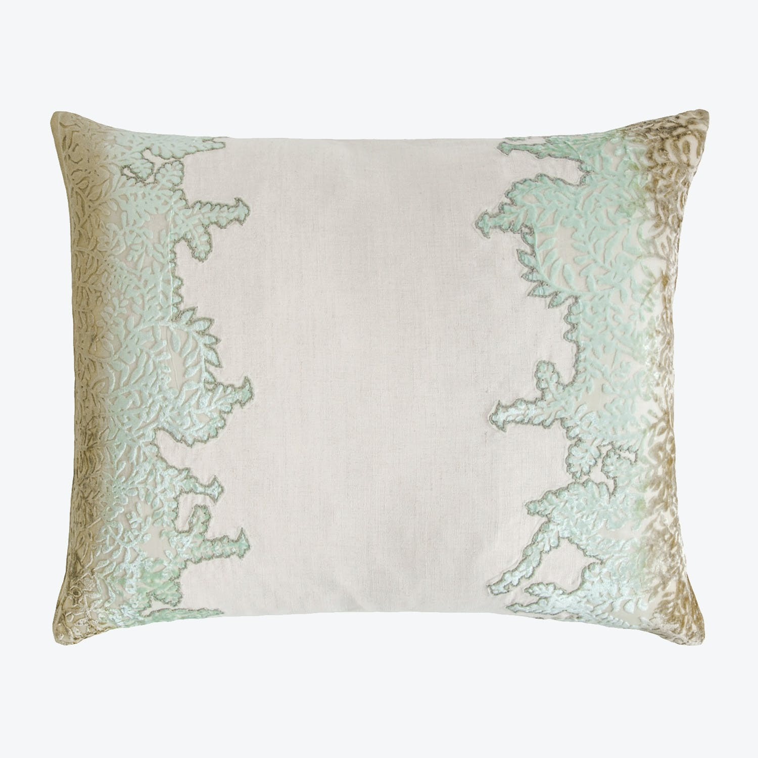 Product Image - Ferns Appliqued Linen Pillow Seaweed