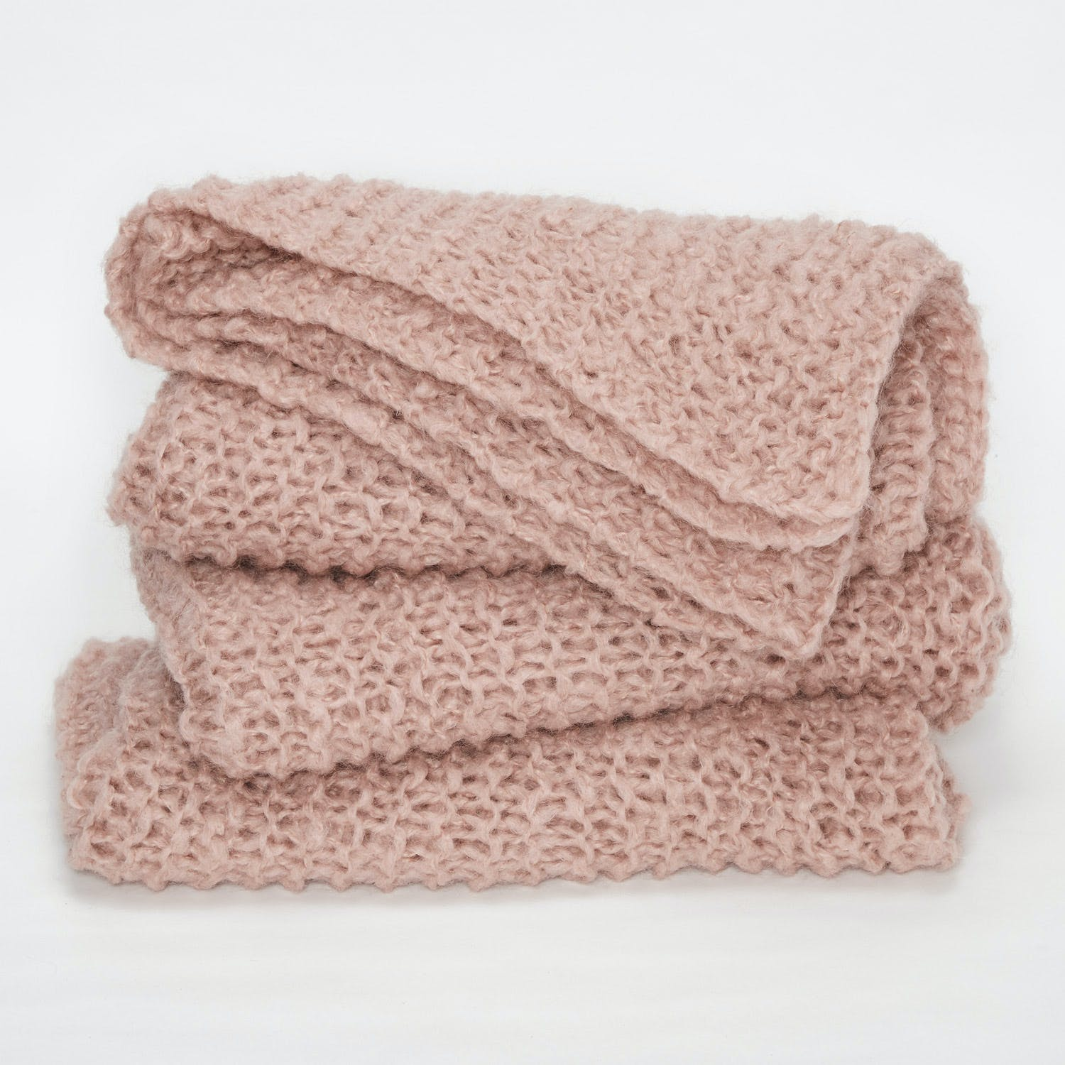 Fe Knits Mohair Throw Rose