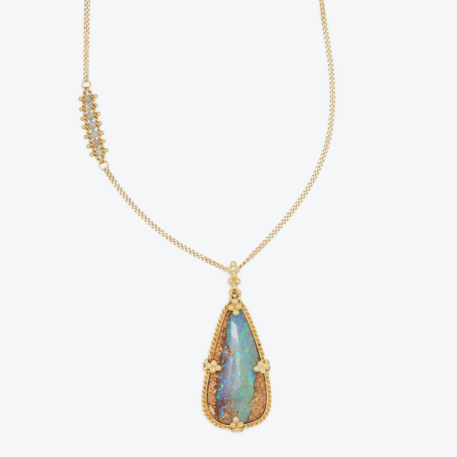 Amali One-of-a-kind Opalized Wood & Silver Diamond Necklace