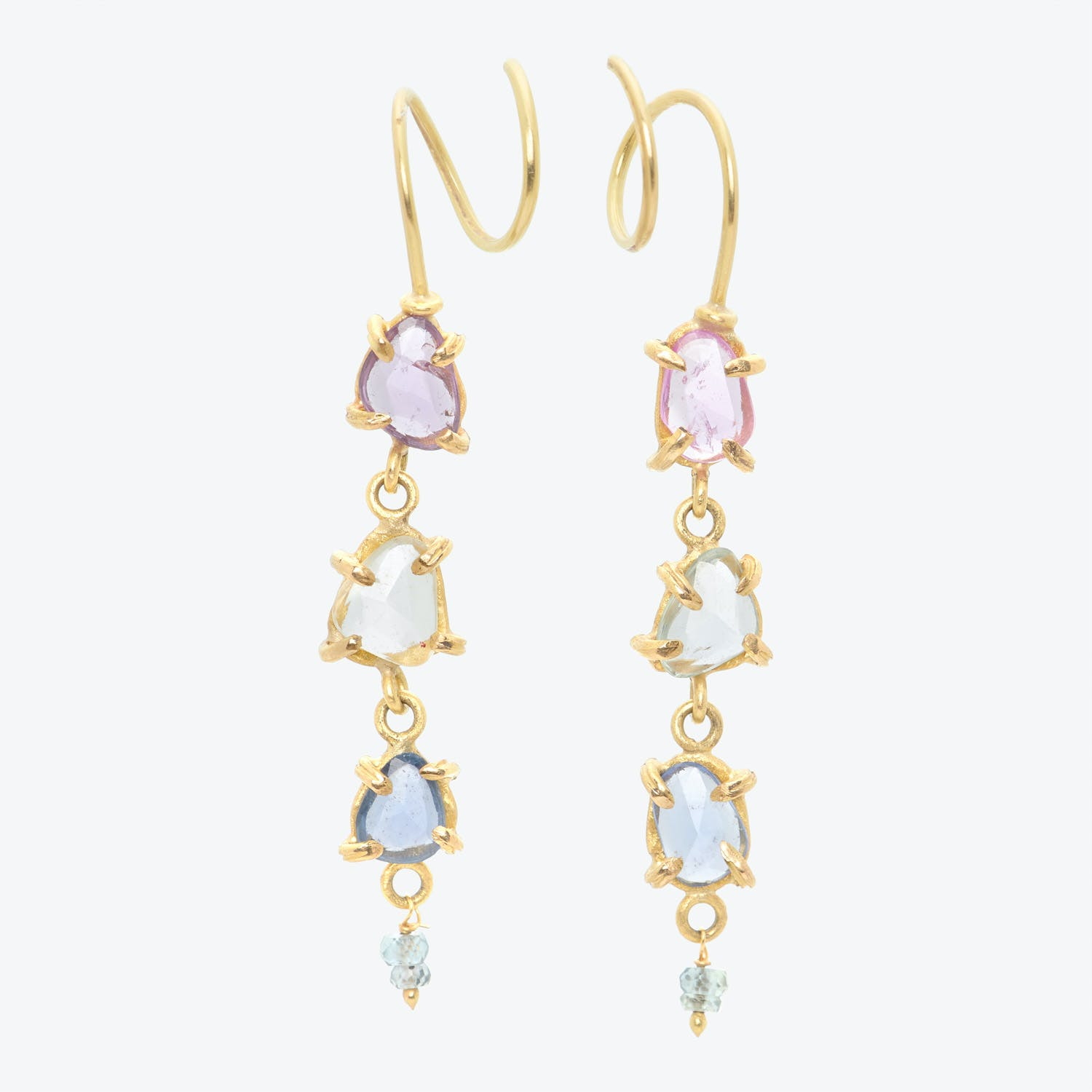 Lene Vibe One-of-a-kind Multi-colored Sapphire 4-Drop Earrings