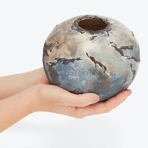 Product Image - Small Meteor Vase Grey, Blue & White