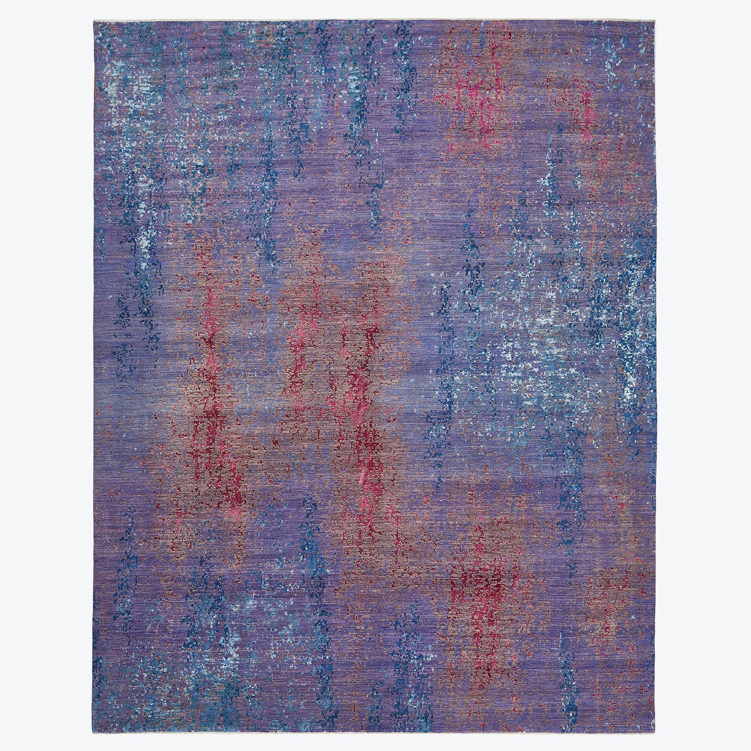 "Contemporary Abstract Silk Rug-11'9""x14'7"""