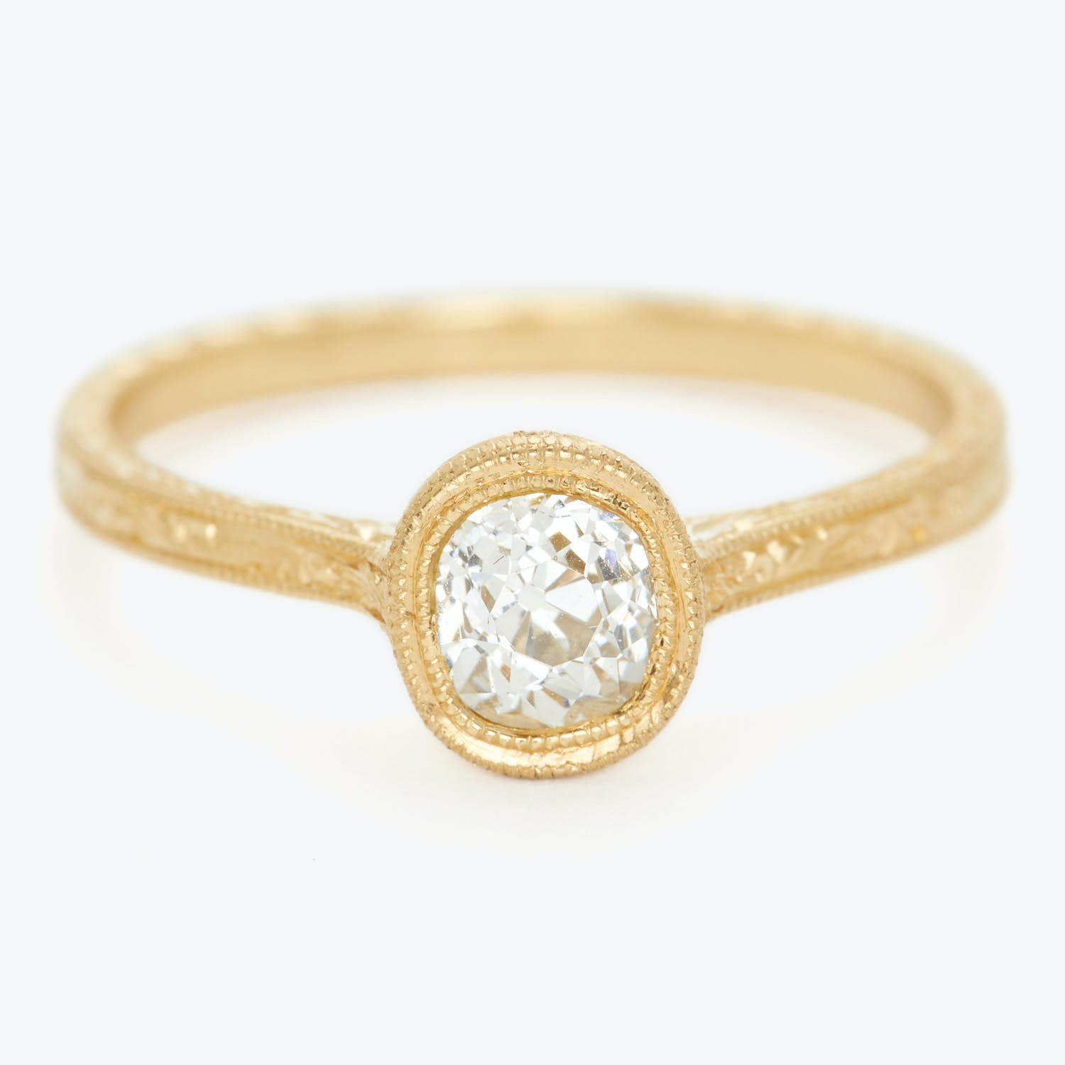 Product Image - Diana Mitchell Round Rose-cut Diamond Engraved Ring