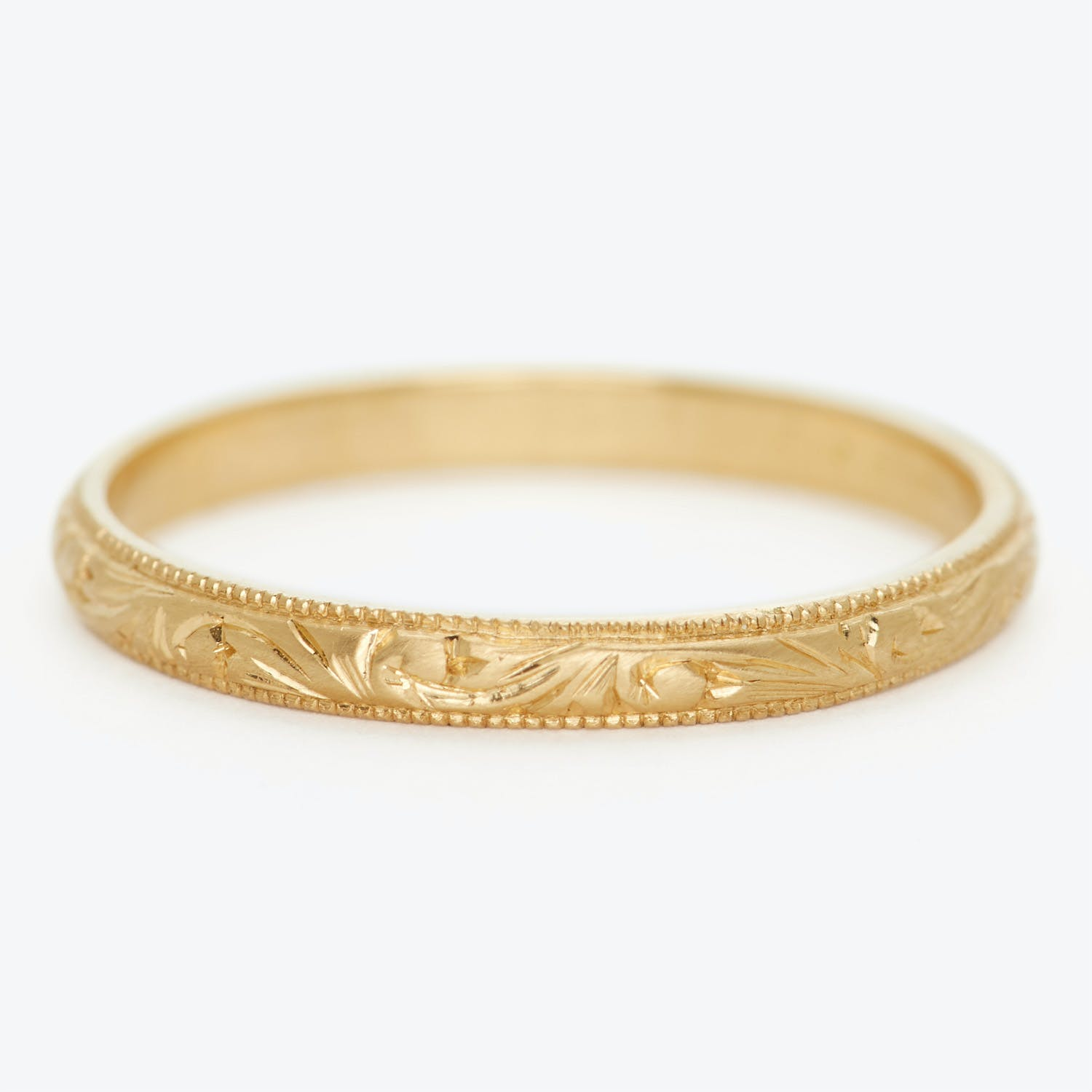 Product Image - Diana Mitchell Thin Yellow Gold Engraved Band Ring