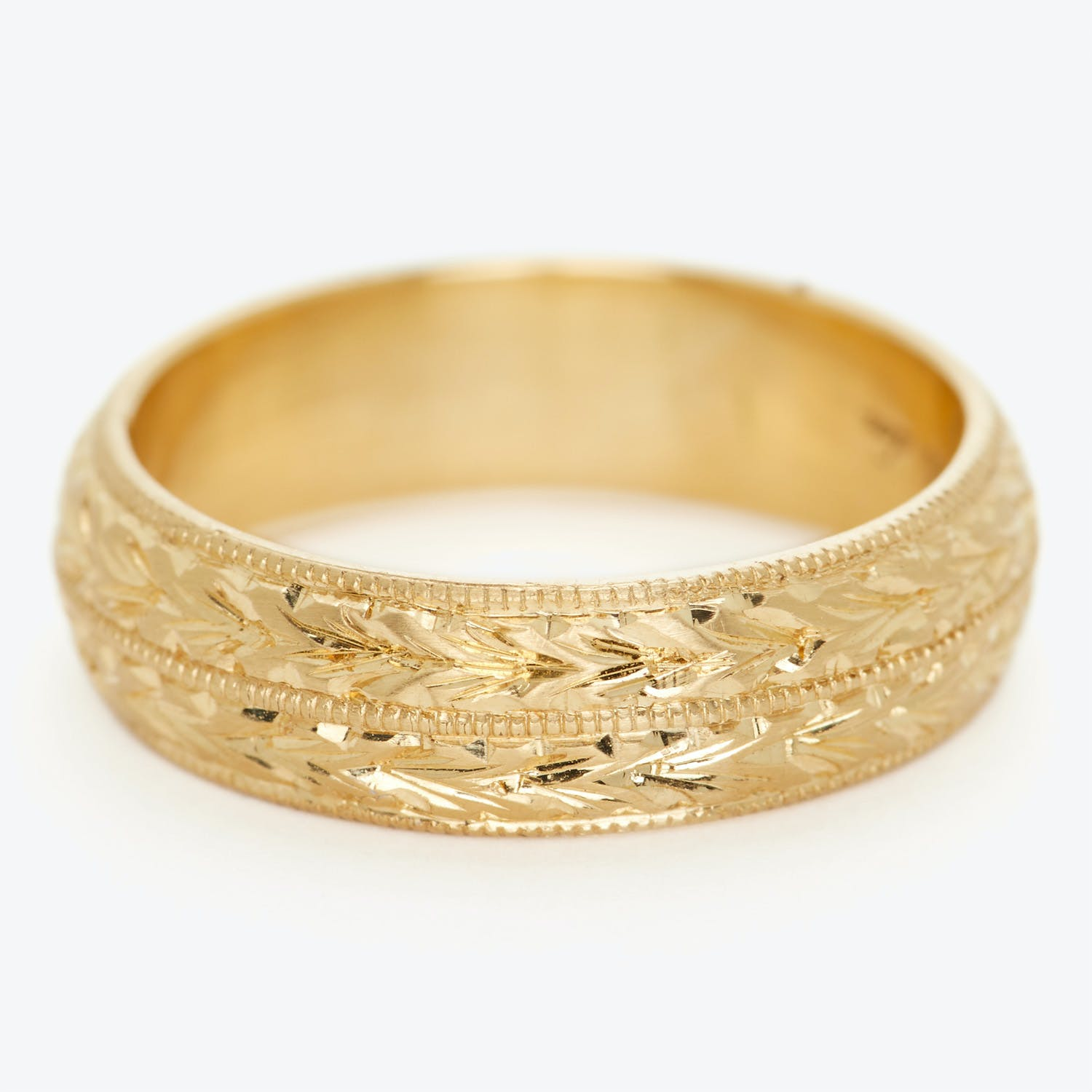 Diana Mitchell Wide Yellow Gold Engraved Band Ring