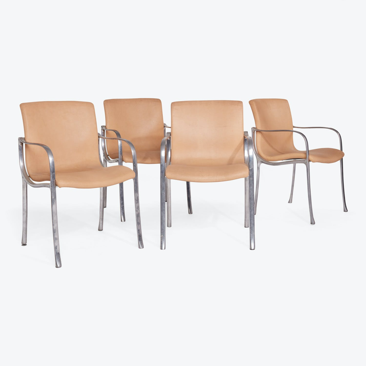 Mid-century Set of 4 Italian Leather Dining Chairs