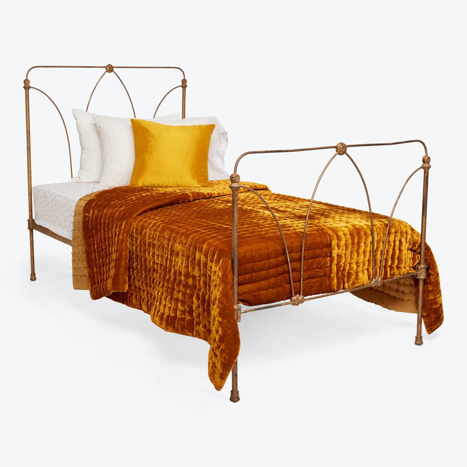 Antique Iron Twin Bed Gold