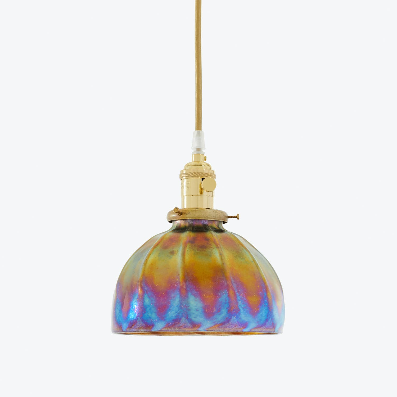 Art Glass Dome Pendant Iridescent Ridges